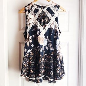 Umgee Floral Lace Patchwork Sleeveless Mini Dress